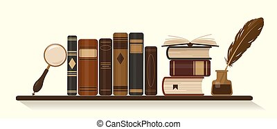 Bookshelf with old or historical brown books