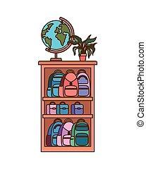 bookshelf with school books vector illustrator