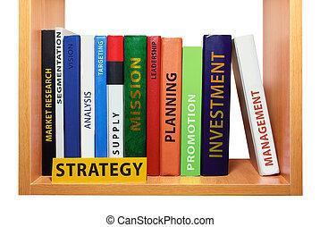 Bookshelf with strategy knowledge and skills.