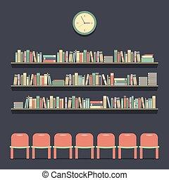 bookshelves., 読書, 席