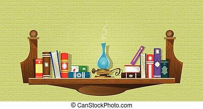 bookshelves, boekjes , kaart