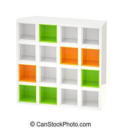 bookshelves, gekleurde, cellen, vrijstaand, glanzend, witte