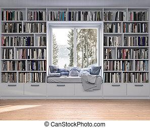 bookshelves, muur, houten, plek, lezende , vloer, witte