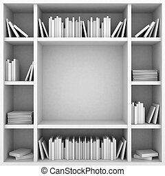 bookshelves on a white background - bookshelves isolated on...