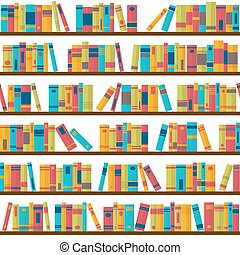 bookshelves., plat, model, bookstore., seamless, boekjes , ontwerp, bibliotheek