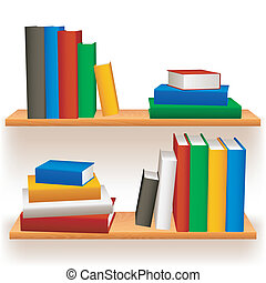 Bookshelves. - Two bookshelves with colored books.
