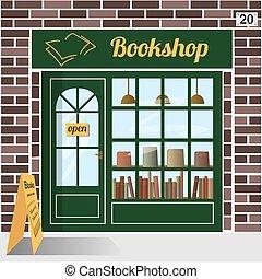 Bookshop. Bookstore. - Bookshop building facade of brown ...