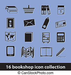 bookshop icons - 16 bookshop icon collection