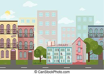 Bookshop in a town Vector illustration
