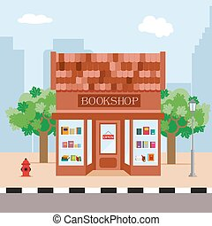Bookstore and trees on the background of the city. Illustration in a flat style. Vector, EPS10.