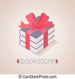 Bookstore, bookshop vector sign, icon, symbol, logo