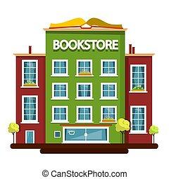 Bookstore Building. Vector Flat Design Illustration.