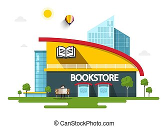Bookstore Building with Book Symbol on Facade. Vector.
