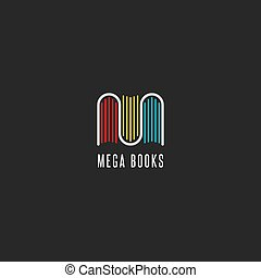 Bookstore logo idea, colorful books logotype in the form of letter M, emblem mockup for publishers, libraries and encyclopedias.