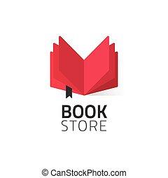 Bookstore logo vector illustration isolated on white, open book logotype