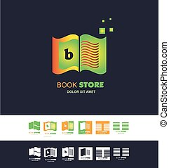 Bookstore open book logo