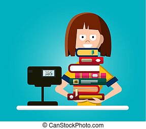 Bookstore or Library Vector Flat Design Illustration with Woman with Pile of Books
