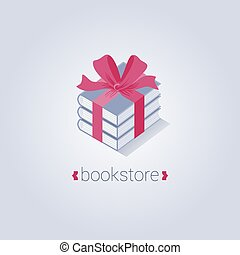 Bookstore vector logo template with