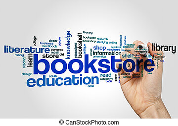 Bookstore word cloud concept on grey background