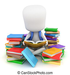 3D Illustration of a Kid Surrounded by Stacks of Books