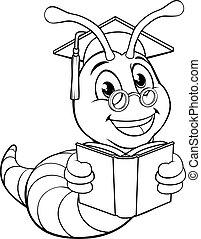 Bookworm Cute Cartoon Worm Coloring Book Page