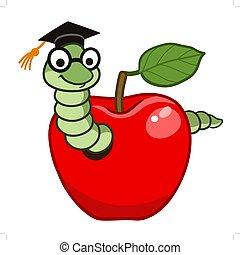 Bookworm in apple