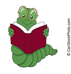 Bookworm reading a book over a white background