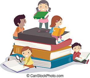 Bookworms - Stickman Illustration Featuring Kids Reading...