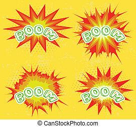 boom., 漫画本, 爆発, セット