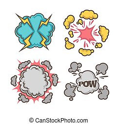 Boom, bang explosions comic bubble clouds of vector cartoon text exclamations