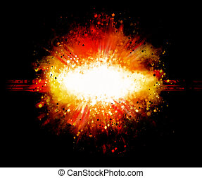 boom - black abstract background with red flame explosion