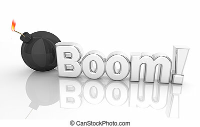 Boom Bomb Explosion Danger Words 3d Illustration