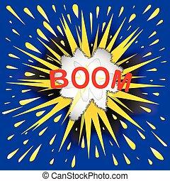 Boom Cartoon Bubble - Abstract cartoon bubble explosion with...