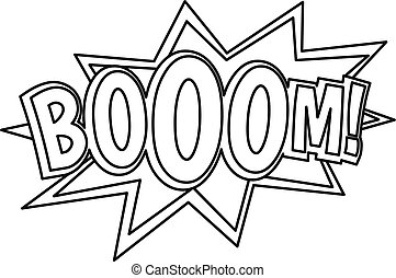 Boom, comic book explosion icon, outline style