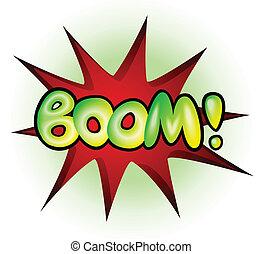 Boom - comic book explosion, vector illustration