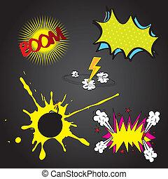 Boom comic - Set boom comic over black background vector ...