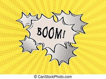 BOOM comic speak bubble on yellow dotted background