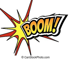 Boom Comic Speech Bubble, Cartoon. Pop art Background Vector...