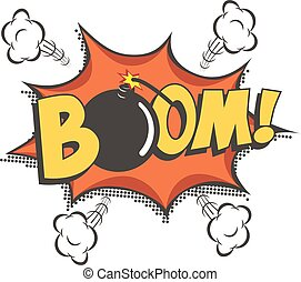 Boom comic text speech bubble with bomb. Vector isolated sound effect puff cloud icon.