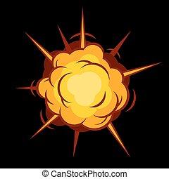 boom., comique, explosion., vecteur