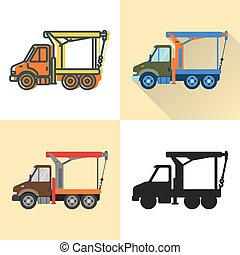 Boom crane truck icon set in flat and line styles