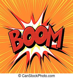 Boom explosion comic book text pop art