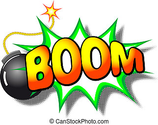 vector illustration of a cartoon explosion with the word boom