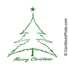boom., groene, kerstmis