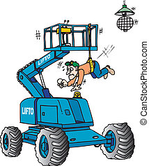 Boom lift - Man hanging from a boom lift with safety harness...