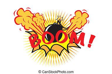 boom pop art over white background. vector illustration