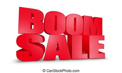 Boom Sale 3D Text Come Down 3D Animation Render.