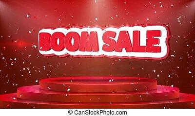 Boom Sale Text Animation Stage Podium Confetti Loop...