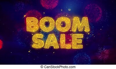 Boom Sale Text on Colorful Ftirework Explosion Particles.