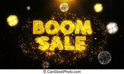 Boom Sale Text on Firework Display Explosion Particles.